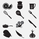 Utensil and food icon set illustration Royalty Free Stock Photos