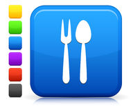 Utensil Icon on Square Internet Button Collection Stock Photo