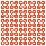 100 utensil icons hexagon orange. 100 utensil icons set in orange hexagon isolated vector illustration Royalty Free Stock Image