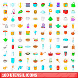 100 utensil icons set, cartoon style. 100 utensil icons set in cartoon style for any design vector illustration Stock Photography