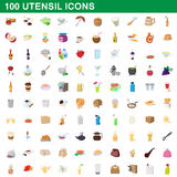100 utensil icons set, cartoon style Stock Photos
