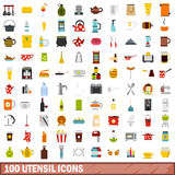 100 utensil icons set, flat style. 100 utensil icons set in flat style for any design vector illustration Royalty Free Stock Photos