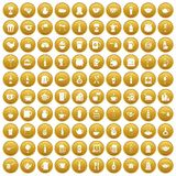 100 utensil icons set gold. 100 utensil icons set in gold circle isolated on white vector illustration Stock Illustration