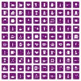 100 utensil icons set grunge purple. 100 utensil icons set in grunge style purple color isolated on white background vector illustration Royalty Free Stock Photos