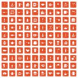 100 utensil icons set grunge orange. 100 utensil icons set in grunge style orange color isolated on white background vector illustration Royalty Free Stock Photos