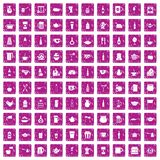 100 utensil icons set grunge pink. 100 utensil icons set in grunge style pink color isolated on white background vector illustration Royalty Free Stock Photos