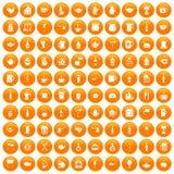 100 utensil icons set orange. 100 utensil icons set in orange circle isolated on white vector illustration Royalty Free Illustration