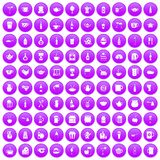 100 utensil icons set purple. 100 utensil icons set in purple circle isolated on white vector illustration Stock Illustration