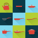 Utensil illustrations set in flat style with long shadow Stock Image