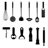 Utensil Kitchen tool silhouette collection Stock Photos