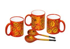 Utensil, painted in the style of Khokhloma, the ancient Russian folk craft that emerged in the XVII century in the village of Khok Royalty Free Stock Photography