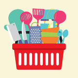 Utensil In Shopping Basket Stock Image