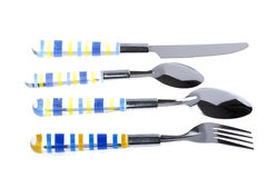 Utensil spoon with fork on white Stock Photos