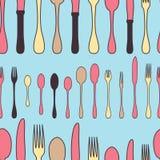 Utensile senza cuciture del modello Insieme della coltelleria del personale della cucina Immagini Stock Libere da Diritti