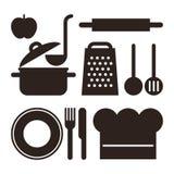 utensilen för tenderizeren för meat för kök för brädet viftar ägget isolerade liggande set white Royaltyfria Bilder