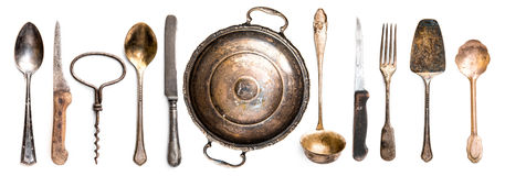 Utensili antichi della cucina Fotografie Stock