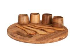 Utensili antichi di legno della cucina Fotografia Stock Libera da Diritti