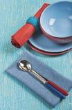 Utensili colorati della cucina Fotografia Stock