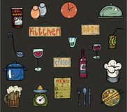 Utensili colorati della cucina delle icone Fotografia Stock