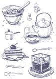 Utensili della cucina e dell'alimento Fotografia Stock