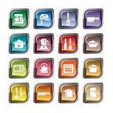 Utensili della cucina ed icone degli apparecchi Immagini Stock