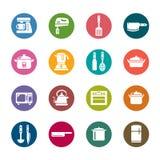 Utensili della cucina ed icone di colore degli apparecchi Fotografie Stock