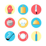 Utensili della cucina ed icone piane della cucina Fotografie Stock Libere da Diritti