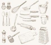Utensili della cucina impostati Fotografie Stock Libere da Diritti