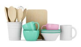 Utensili della cucina isolati su bianco Fotografia Stock