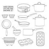 Utensili della cucina per cuocere Un insieme dei piatti per cuocere: padella, casseruola, una colapasta Muffe per i bigné illustrazione di stock