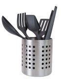 Utensili della cucina in un supporto dell'utensile Fotografie Stock
