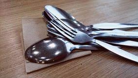 Utensili della forchetta e del cucchiaio Fotografia Stock