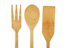 Utensili di legno della cucina impostati fotografie stock libere da diritti