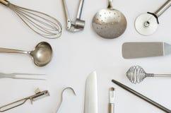 Utensili e strumenti metallici della cucina Fotografia Stock Libera da Diritti
