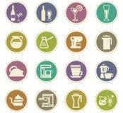 Utensili per la preparazione delle icone delle bevande Fotografia Stock Libera da Diritti