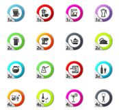 Utensili per le icone delle bevande messe Fotografie Stock Libere da Diritti