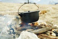 Utensilios de cocina de la hoguera Imagen de archivo libre de regalías