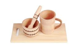 Utensilios de cocina de madera aislados en un fondo blanco Fotos de archivo libres de regalías