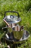 Utensilios de cocina que acampan Imagen de archivo