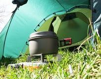 Utensilios de cocina que acampan Foto de archivo libre de regalías