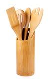 Utensilios de cocinar de madera Imagenes de archivo