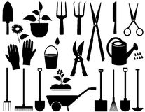 Utensilios de jardinería aislados Imagen de archivo