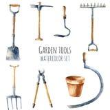 Utensilios de jardinería de la acuarela Fotografía de archivo libre de regalías