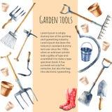 Utensilios de jardinería de la acuarela Imagenes de archivo