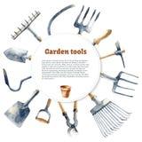 Utensilios de jardinería de la acuarela Imagen de archivo libre de regalías