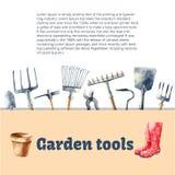 Utensilios de jardinería de la acuarela Imágenes de archivo libres de regalías