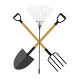 Utensilios de jardinería, sistema plano de la colección del icono de los instrumentos Pala, rastrillo ilustración del vector