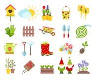 Utensilios de jardinería y otros elementos de los iconos planos que cultivan un huerto fijados libre illustration