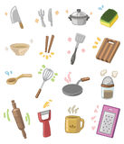 Utensilios de la cocina de la historieta Imagen de archivo