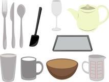 Utensilios de la cocina del vector y co Imagen de archivo